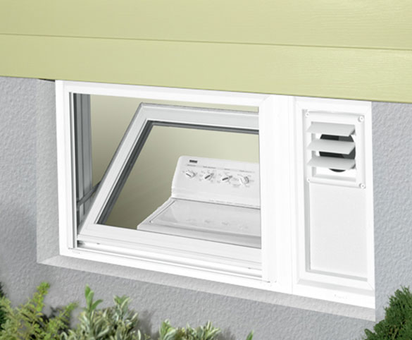 hopper window with dryer vent